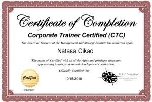 Nataša Cikač - certifikat CTC, Corporate Trainer Certified