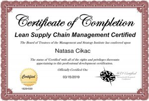 Nataša Cikač - certifikat Lean Supply Chain Management Certified